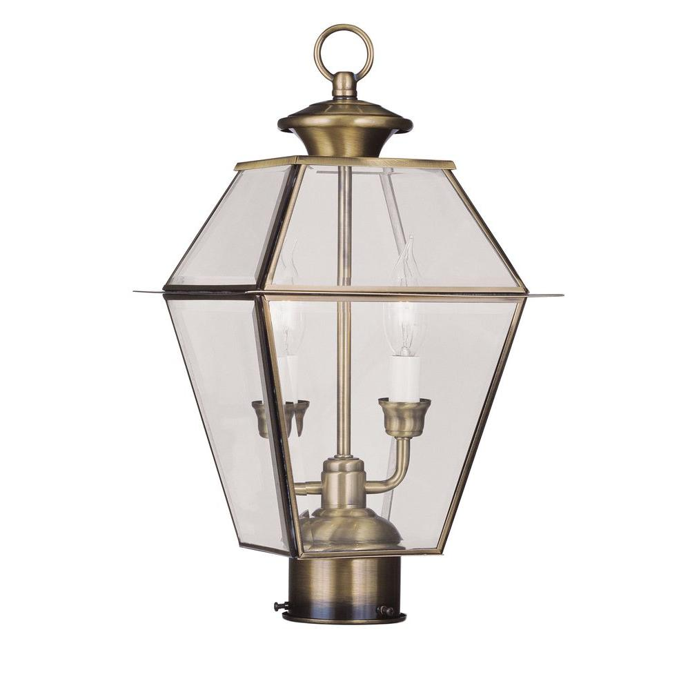 Livex Lighting 2-Light Outdoor Antique Brass Post Head with Clear Beveled Glass