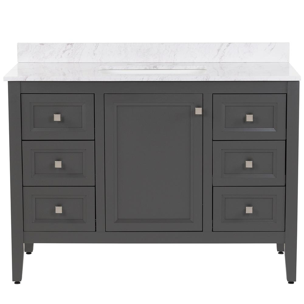 MOEN Darcy 49 in. W x 22 in. D Bath Vanity in Shale Gray with Stone Effects Vanity Top in Lunar with White Sink
