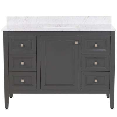 Darcy 49 in. W x 22 in. D Bath Vanity in Shale Gray with Stone Effects Vanity Top in Lunar with White Basin