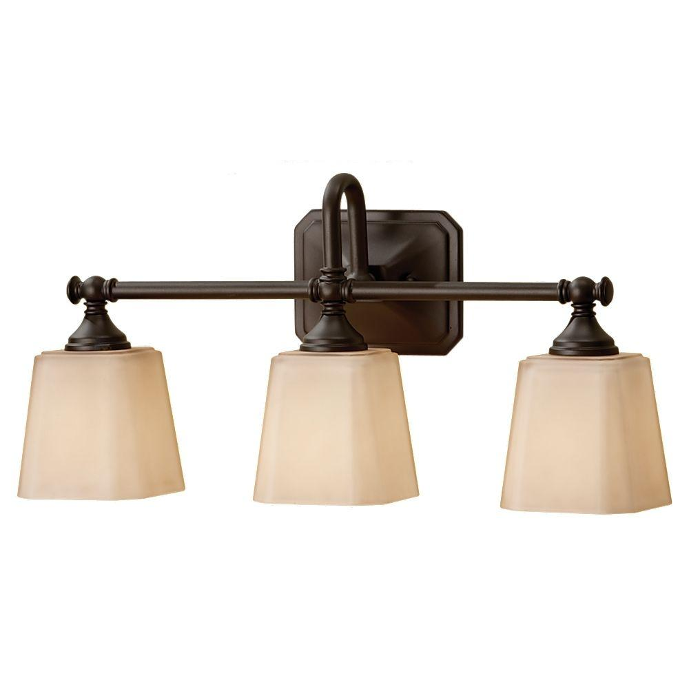 home depot bathroom lights. Hampton Bay 3 Light Oil Rubbed Bronze Vanity with Frosted Glass  Shades EGM1393A 4 ORB The Home Depot