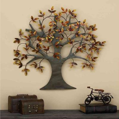 31 in. x 32 in. Brown & Gold Autumn Leaves Traditional Metal Wall Art Tree