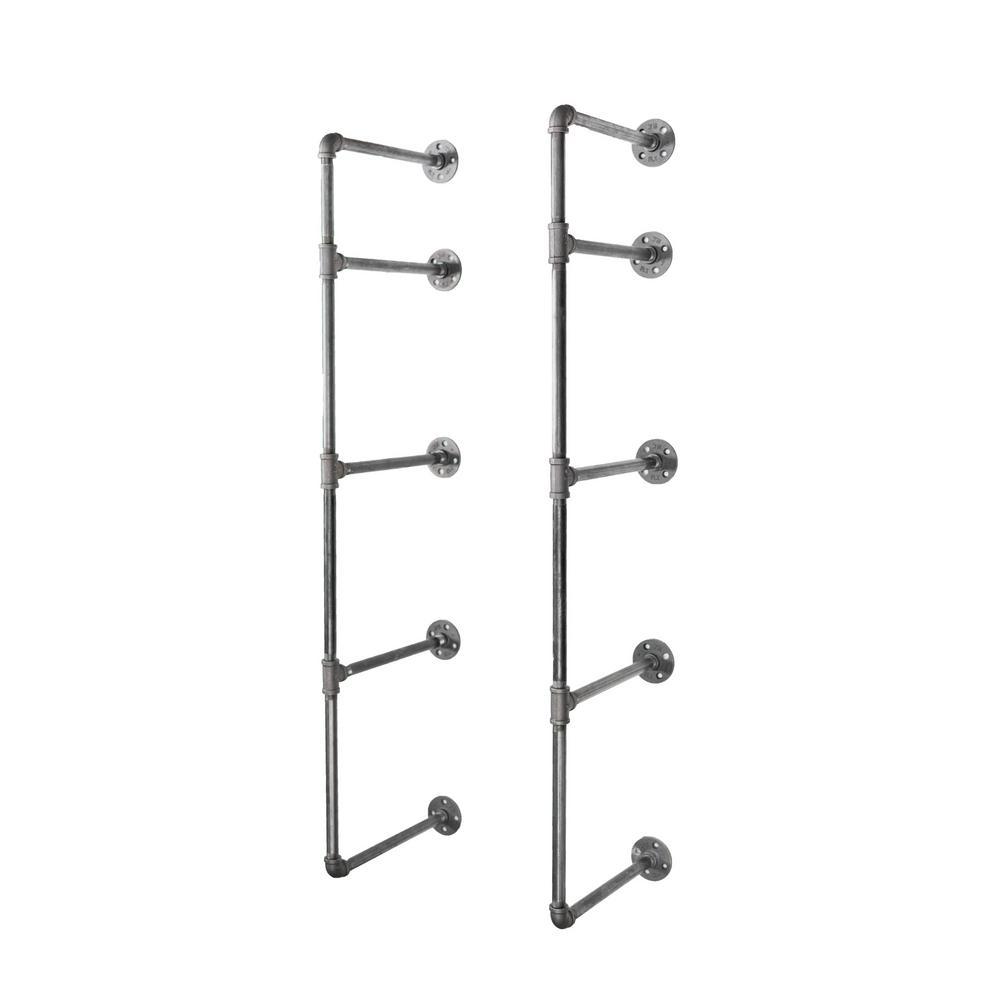 1/2 in. Black Pipe 11.75 in. D x 48.5 in. H Wall Mounted 4-Tier Shelf Kit