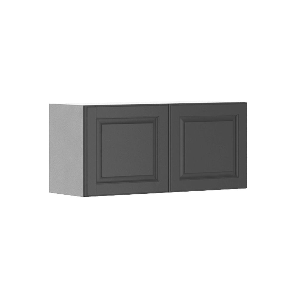 Fabritec Ready to Assemble 33x15x12.5 in. Buckingham Wall Bridge Cabinet in White Melamine and Door in Gray