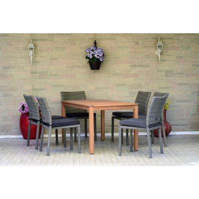 Somerset 7-Piece Wood Rectangular Outdoor Dining Set with Grey Cushions