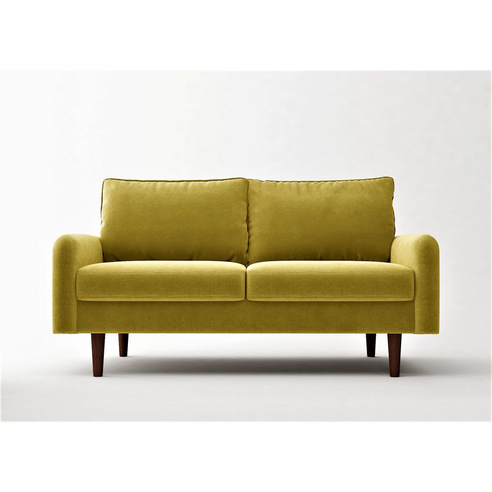 Vivo 57.8 in. Golden Yellow Velvet 2-Seater Loveseat with Removable Cushions