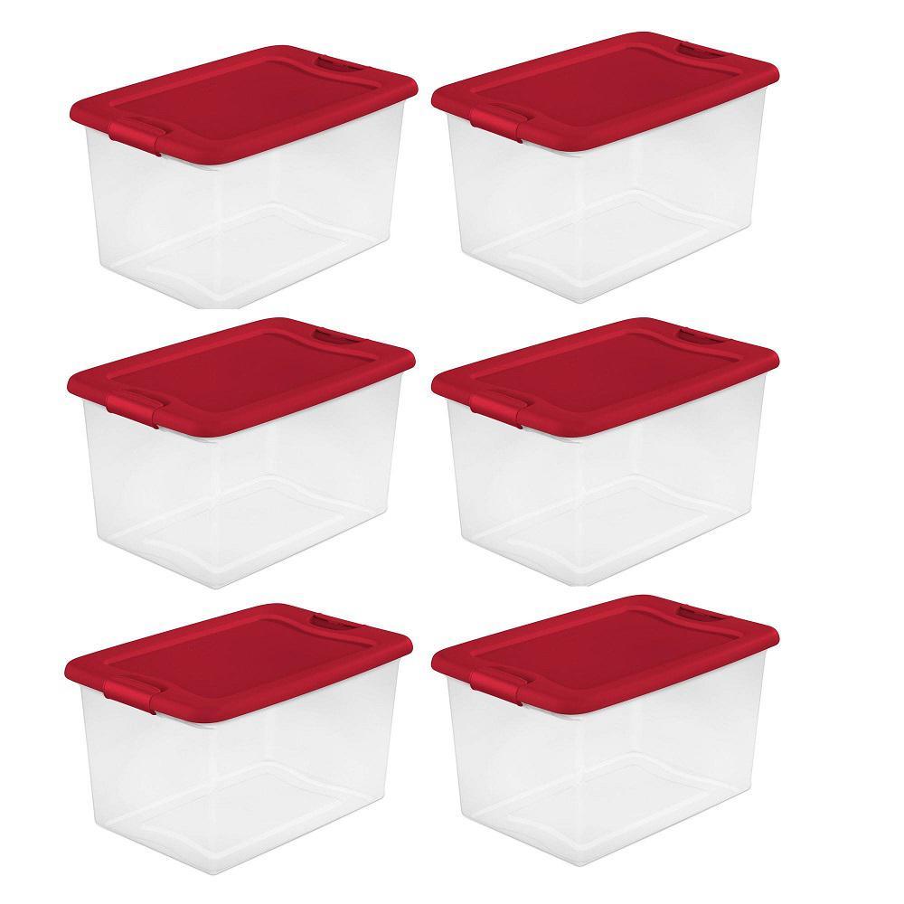 Sterilite 64 Qt. Clear Plastic Latching Lid Storage Bin ...
