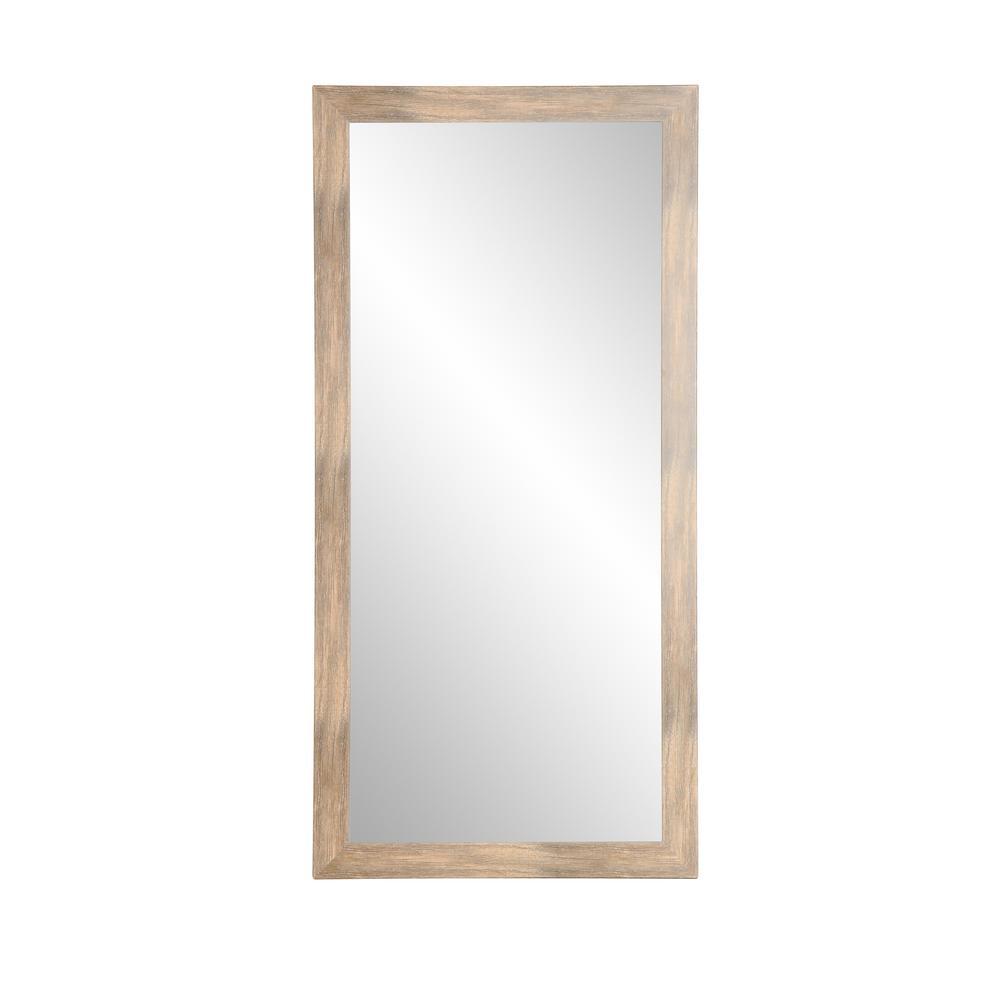 Oversized Brown/White Composite Coastal Cottage Farmhouse Southwestern Mirror (71 in. H X 32 in. W)