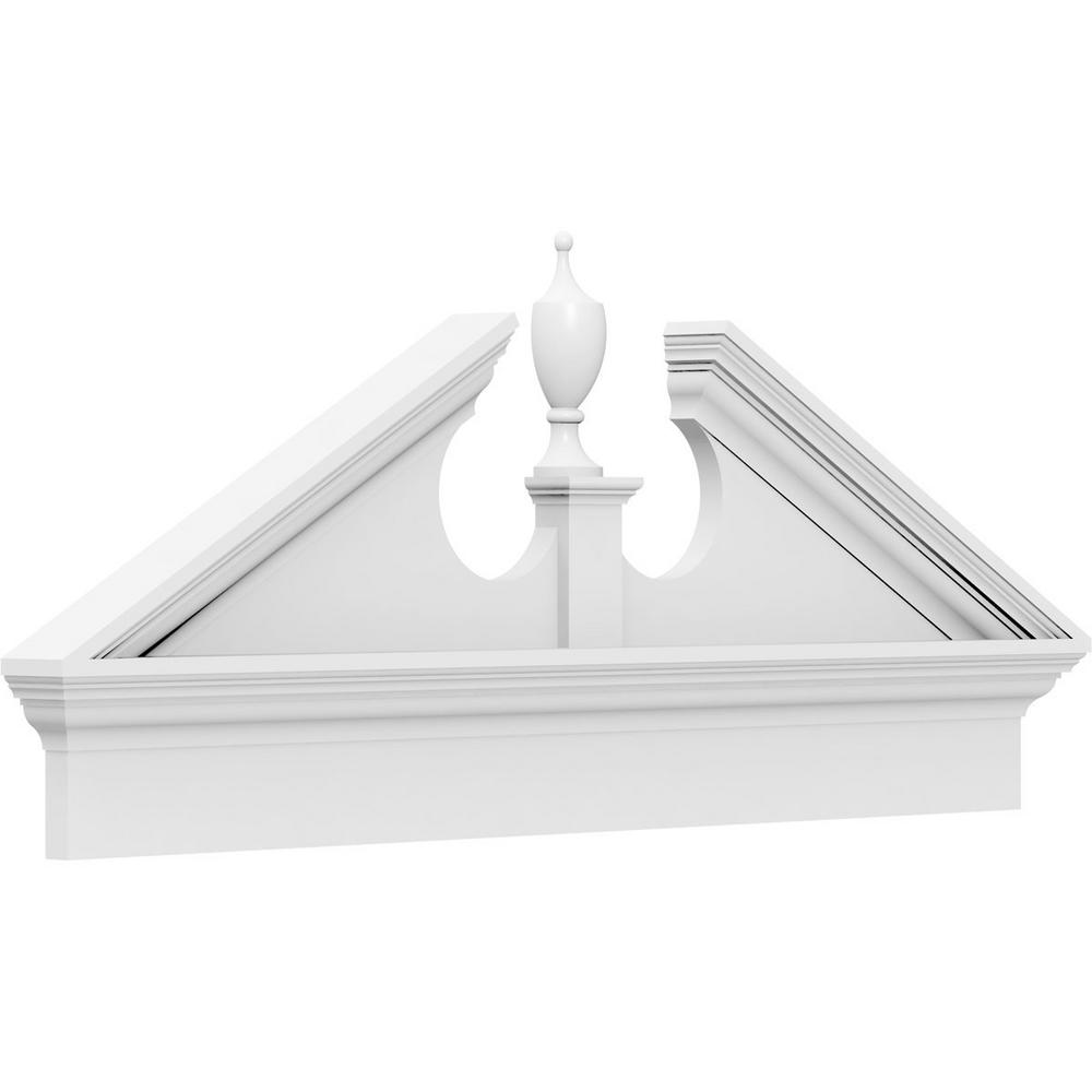 Ekena Millwork 2-3/4 in. x 56 in. x 20-7/8 in. (Pitch 6/12) Acorn Architectural Grade PVC Combination Pediment Moulding