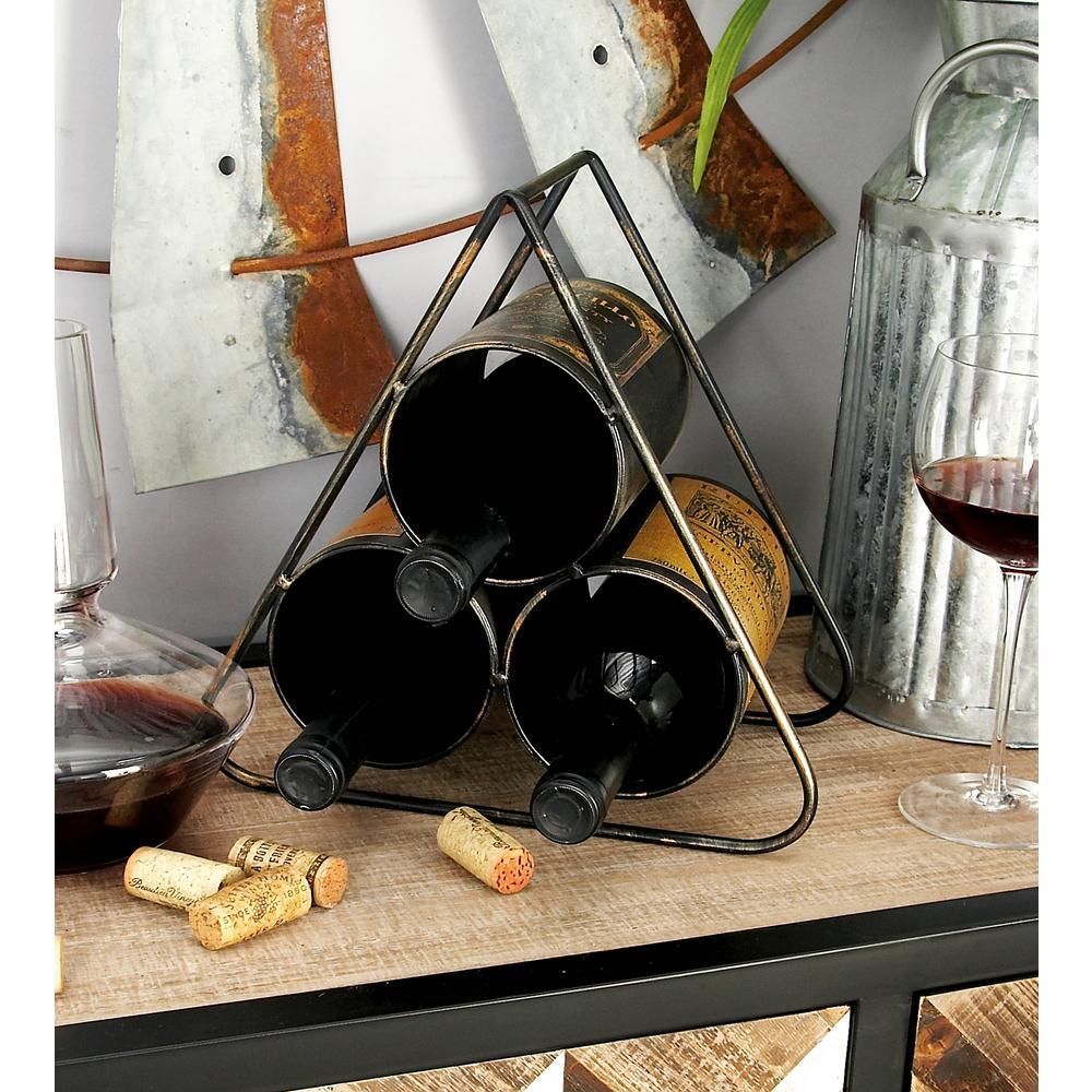 11 in. x 10 in. 3-Bottle Vintage Label Wine Rack in Distressed Black