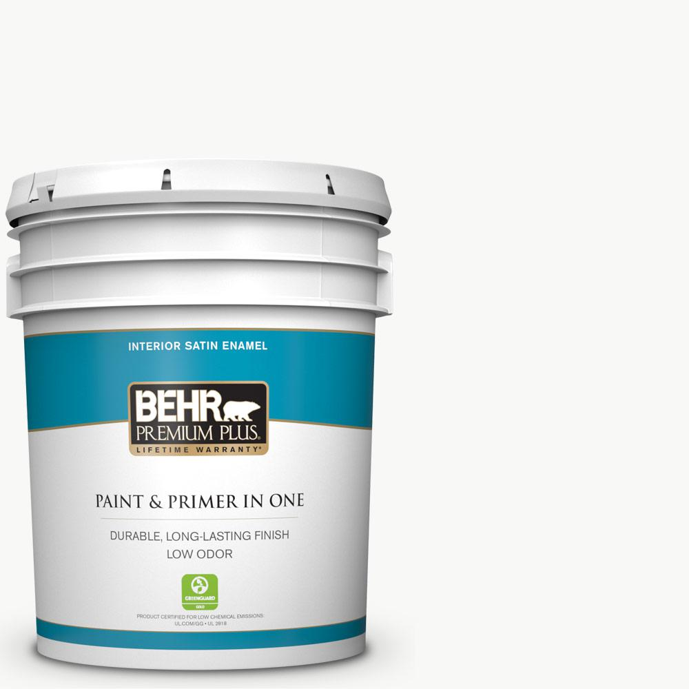 Behr Premium Plus 5 Gal Ultra Pure White Satin Enamel Low Odor Interior Paint And Primer In One