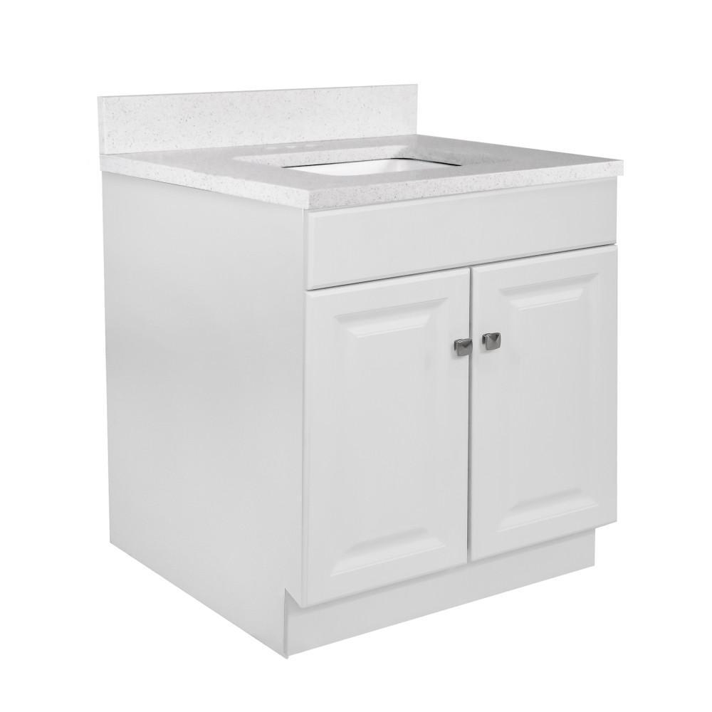 30 in. x 21 in. x 31.5 in. 2-Door Bath Vanity in White w/ 4 in. Centerset Snowdrift Quartz Vanity Top w/ White Basin