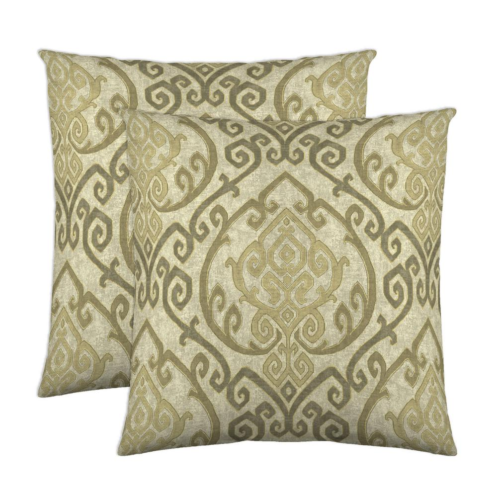 Zaya 18 in. x 18 in. Natural Decorative Pillow (2-Pack)