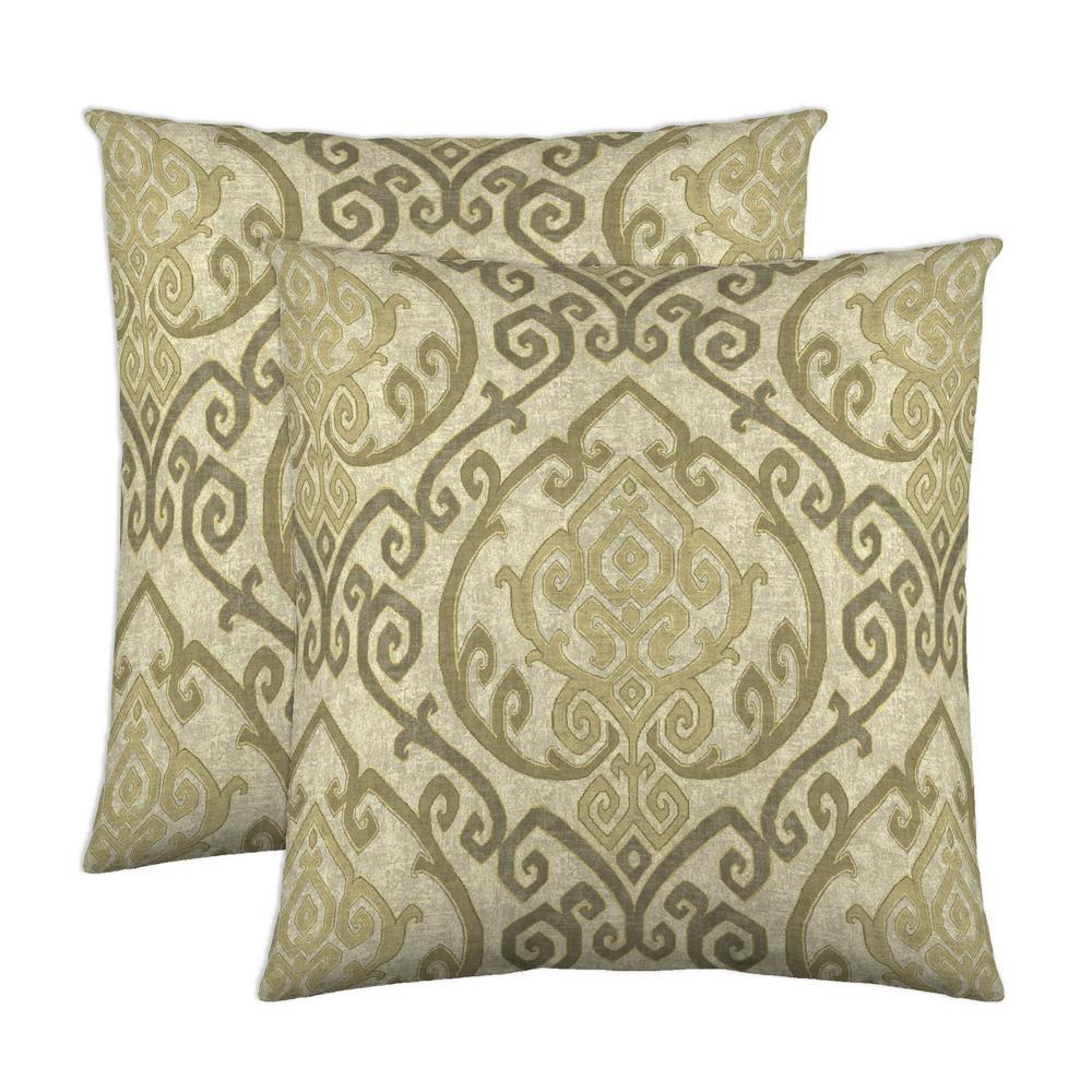 Zaya 18 in. x 18 in. Natural Decorative Pillow (2-Pack)