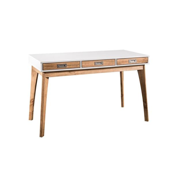 Manhattan Comfort Jackie White and Natural Wood Home Office Desk with