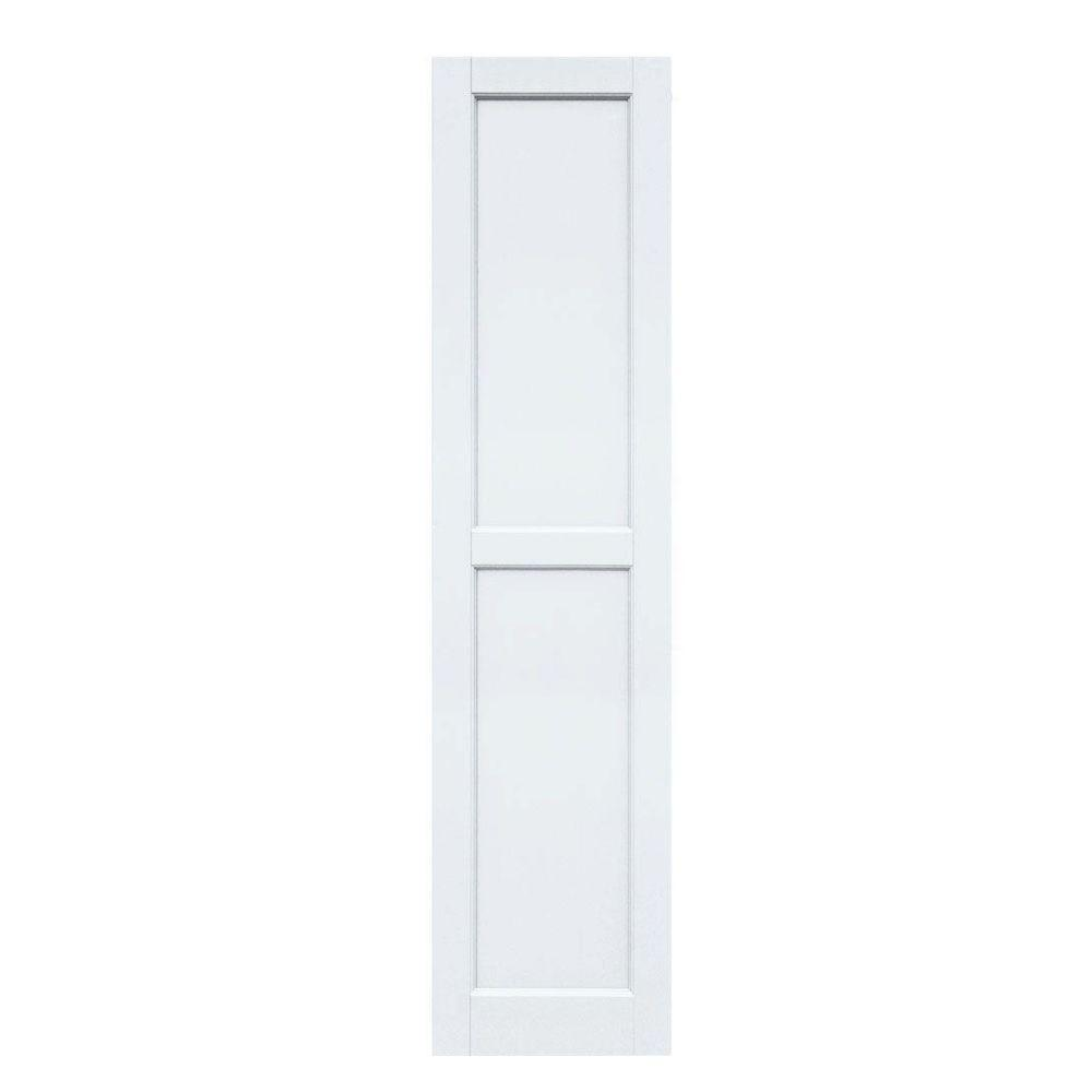Winworks Wood Composite 15 in. x 63 in. Contemporary Flat Panel Shutters Pair #631 White