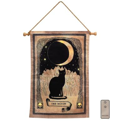 Battery Operated LED Lighted Wall Art - Black Cat and Moon