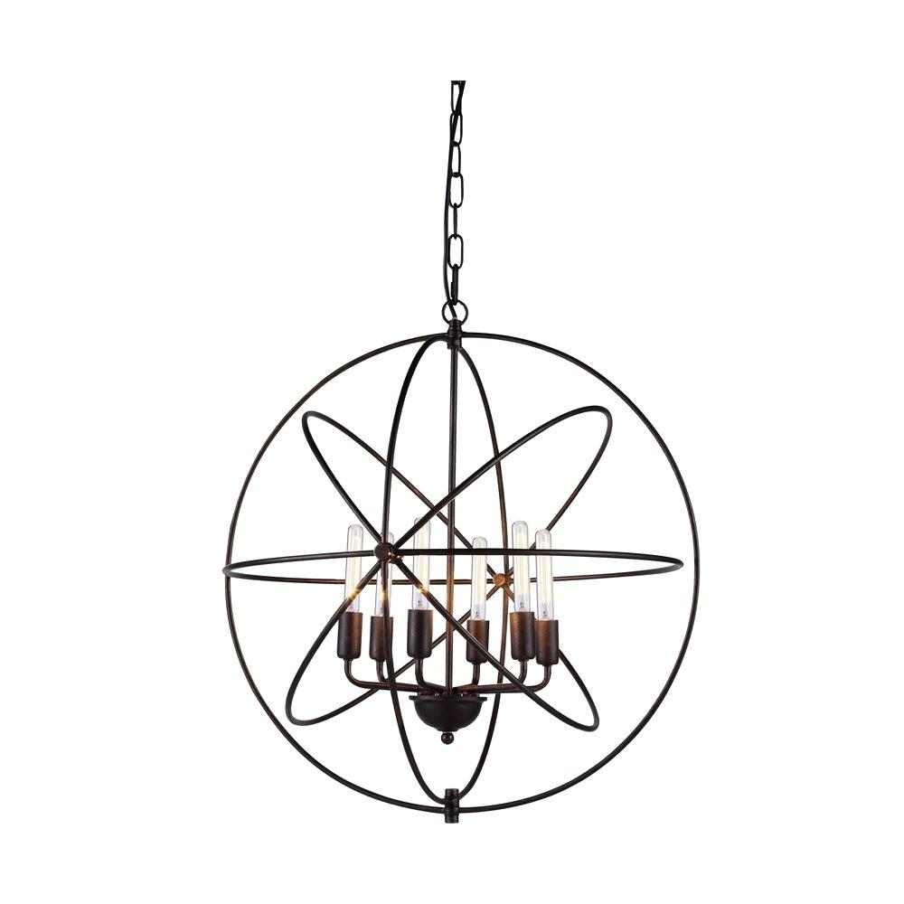 Elegant Lighting Vienna 6 Light Polished Nickel Pendant Lamp