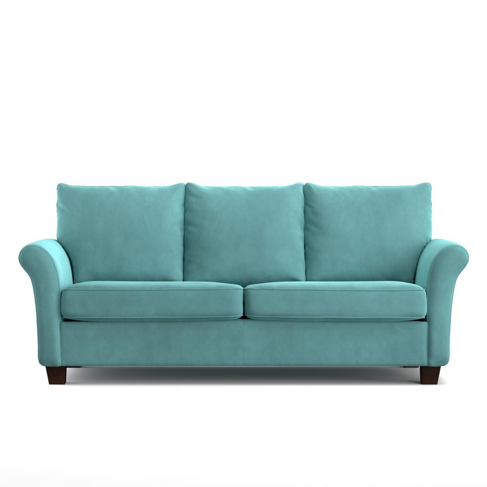 Handy Living Rockford Sofast Sofa In Blue Turquoise Velvet
