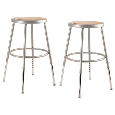 19 in. to 27 in. Height Grey Adjustable Heavy-Duty Steel Stool (2-Pack)