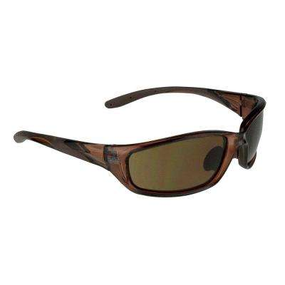 Crystal Brown Slim Frame Safety Glasses with Brown Lens