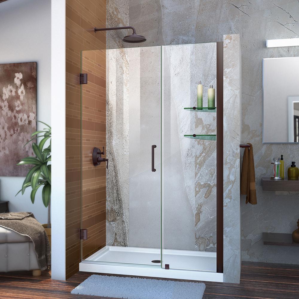Unidoor 48 to 49 in. x 72 in. Frameless Hinged Shower Door in Oil Rubbed Bronze