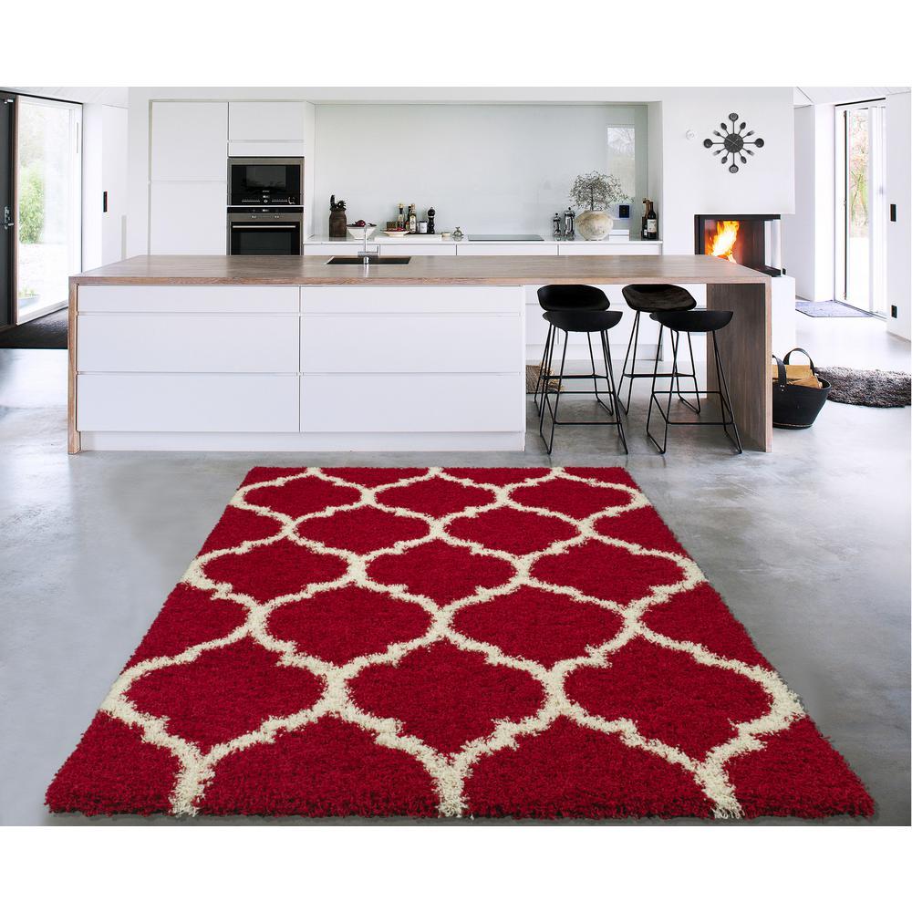Cozy Shag Collection Red/Cream Moroccan Trellis Design 3 ft. x 5 ft. Contemporary Shag Area Rug