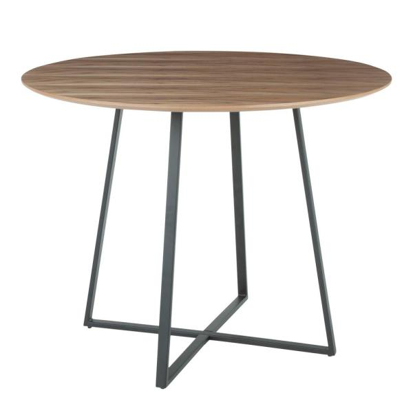 7b511ffced18 Lumisource Cosmo Round Dining Table in Black with Walnut Wood Top DT ...