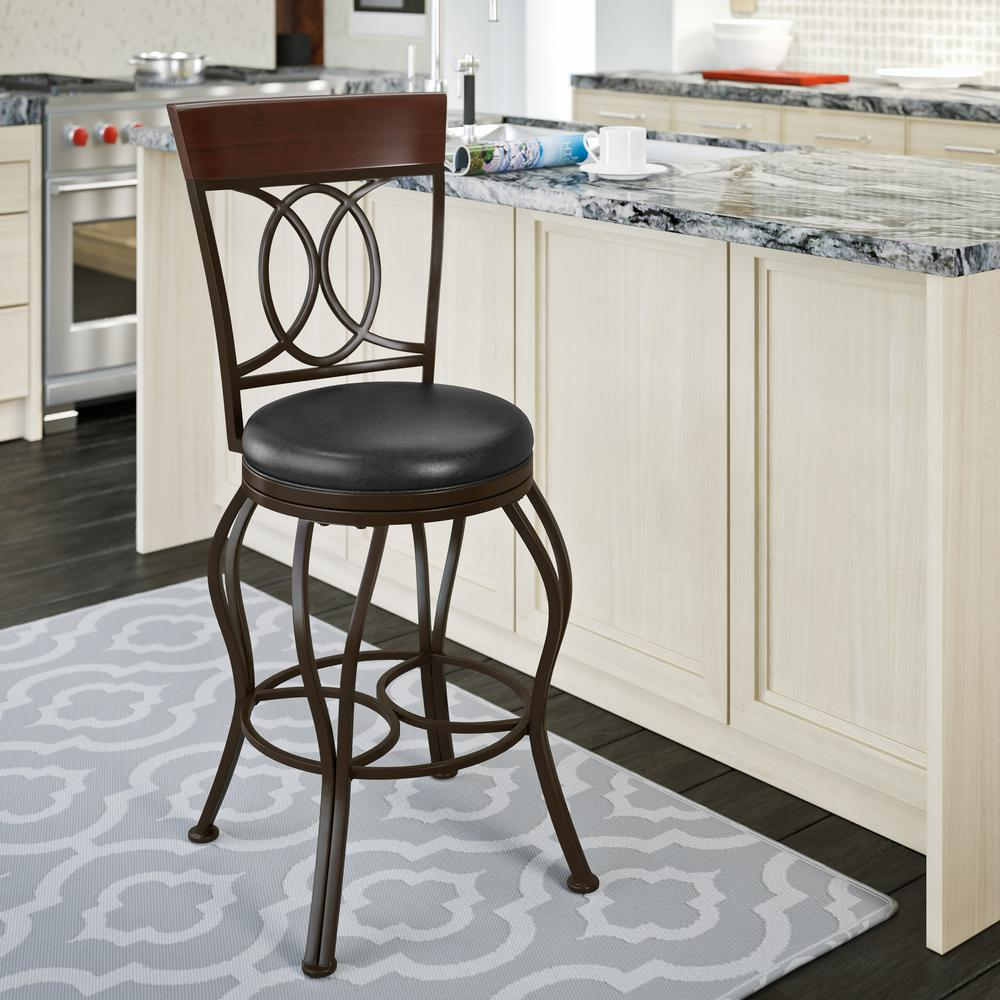Black Metal Bar Stool With Brown Microfiber Seat By: CorLiving Jericho 26 In. Metal Bar Stool With Swivel Dark
