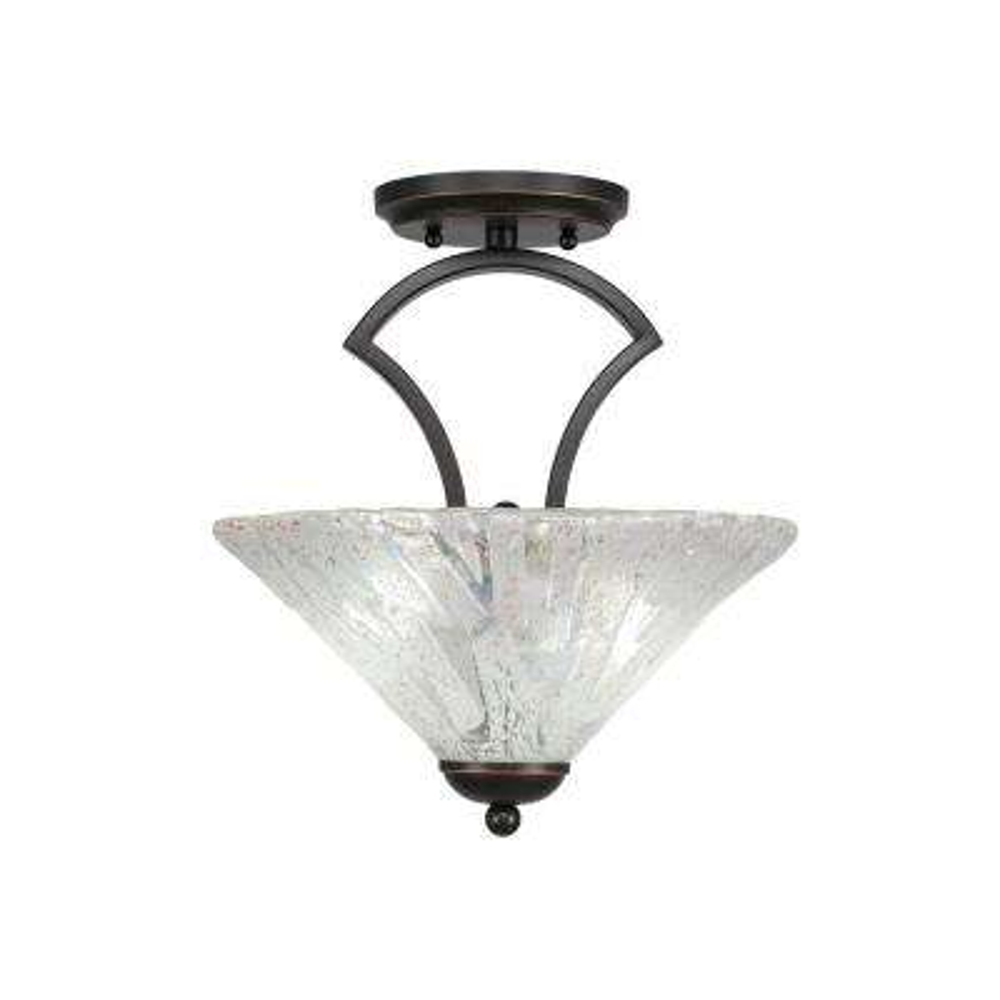 2-Light Dark Granite Semi-Flushmount