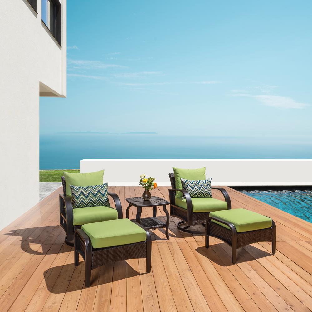 Barcelo 5-Piece Motion Wicker Patio Deep Seating Conversation Set with Sunbrella Ginkgo Green Cushions