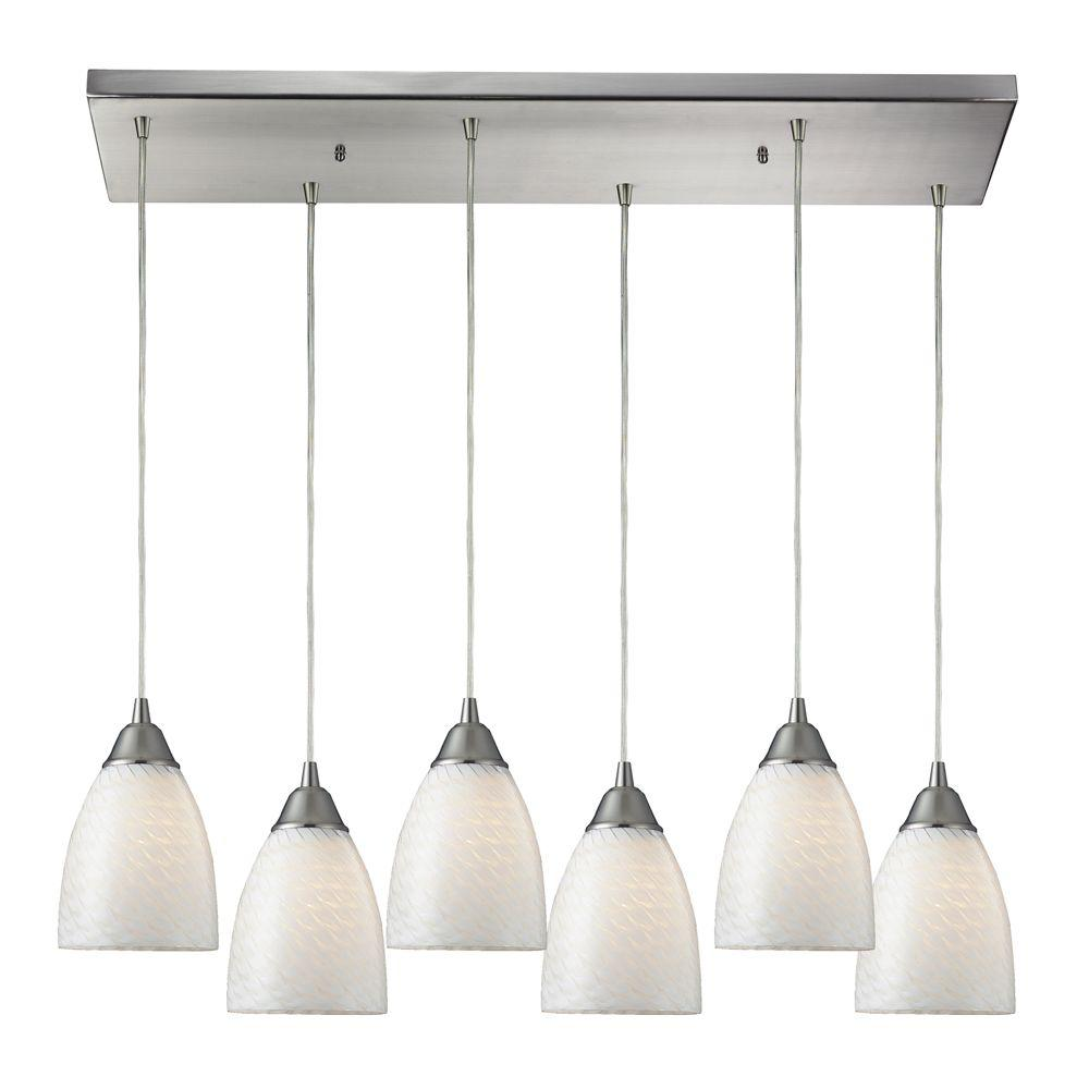 Arco Baleno 6-Light Satin Nickel Ceiling Mount Pendant