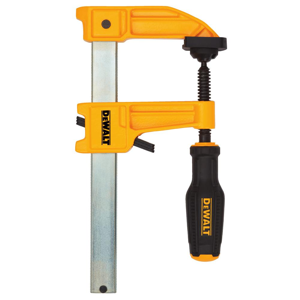 12 in and 6 in DEWALT Bar Clamps Adjustable Grip Wood Tools 4-Pack 600 lb