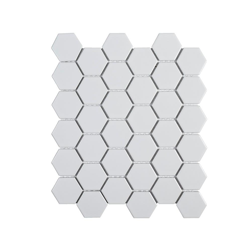 Jeffrey Court Callalily White Honeycomb 12.375 in. x 10.875 in. x 6 mm Matte Porcelain Floor and Wall Tile