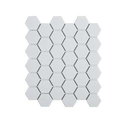 Callalily White 12.375 in. x 10.875 in. x 6 mm Hexagon Matte Porcelain Floor and Wall Mosaic Tile