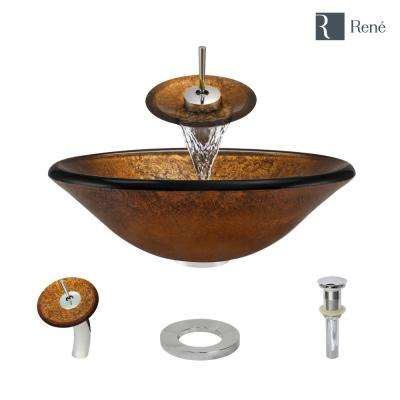 Glass Vessel Sink in Orange Gold Foil with Waterfall Faucet and Pop-Up Drain in Chrome