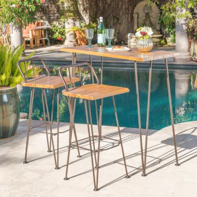 Teak Brown 3-Piece Wood and Metal Rectangular Outdoor Bar Height Dining Set