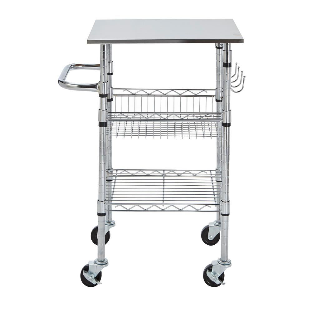 Cocina Kitchen Cart With Stainless Steel Top: StyleWell Gatefield Chrome Small Kitchen Cart With