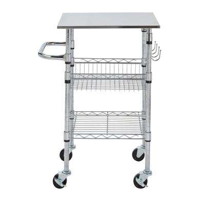 Gatefield Chrome Small Kitchen Cart with Stainless Steel Top