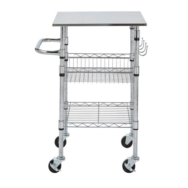 Stainless Kitchen Cart: StyleWell Gatefield Chrome Small Kitchen Cart With