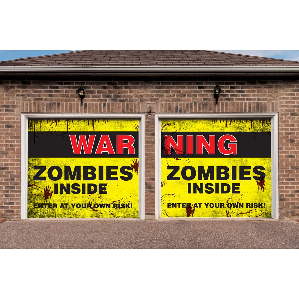 My Door Decor 7 ft x 8 ft Zombies Inside Halloween Garage Door Decor Mural for Split Car Garage