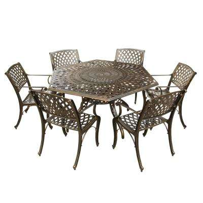 Contemporary Modern 7-Piece Aluminum Bronze Hexagon Outdoor Dining Set with Lazy Susan and 6-Chairs