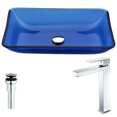 Harmony Series Deco-Glass Vessel Sink in Cloud Blue with Enti Faucet in Polished Chrome