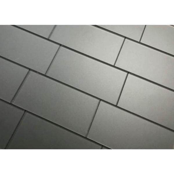 Abolos Forever Eternal Gray Straight Edge Subway 3 In X 6 In Frosted Matte Glass Subway Tile 1 Sq Ft Hmdfom0306 Eg The Home Depot