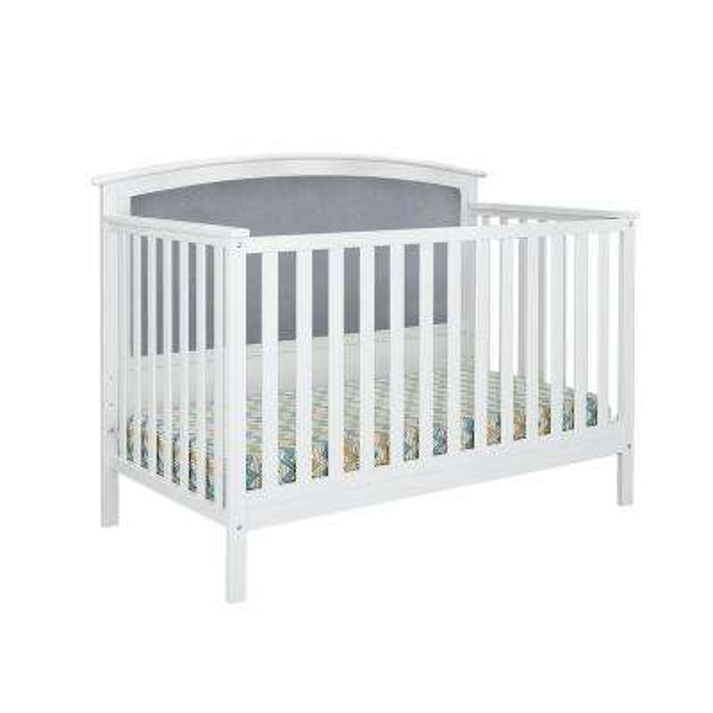 Bentley White Gray Linen Upholstered Convertible Crib