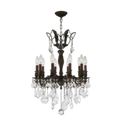 Versailles 10-Light Flemish Brass Chandelier with Clear Crystal