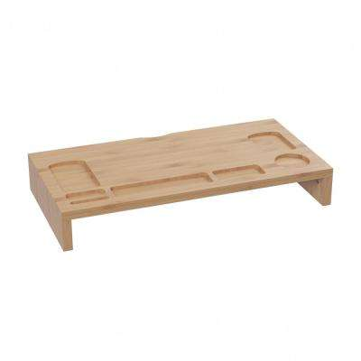 23.8 in. x 12 in. x 3.5 in. Bamboo Monitor Stand and Desktop Organizer