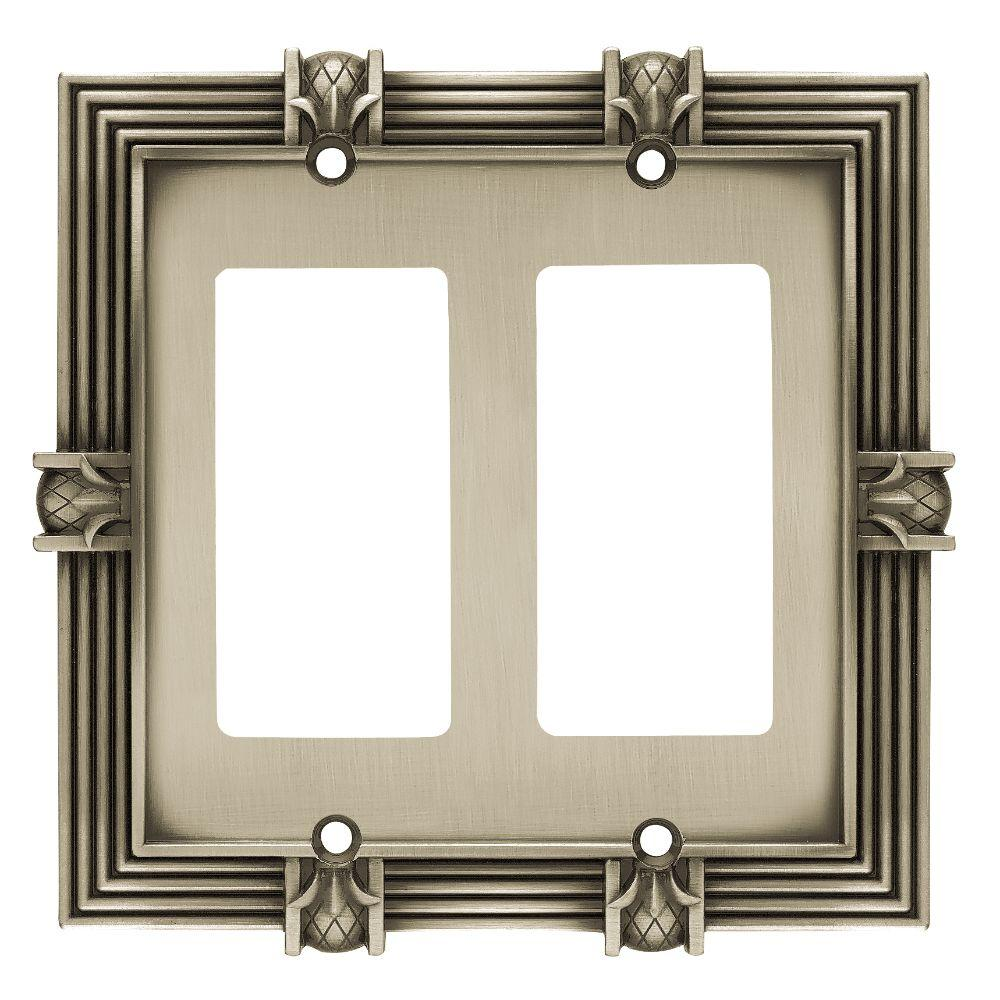 Liberty Pineapple Decorative Double Rocker Switch Plate, Brushed Satin  Pewter