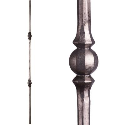 Tuscan Round Hammered 44 in. x 0.5625 in. Satin Clear Double Sphere Solid Wrought Iron Baluster