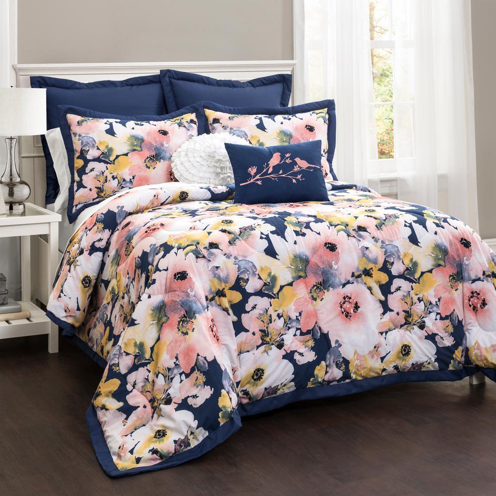 Floral Watercolor Comforter Blue 7-Piece King Set