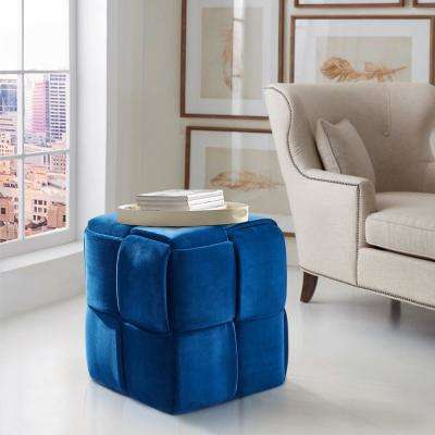 Joy Blue Velvet Contemporary Short Ottoman